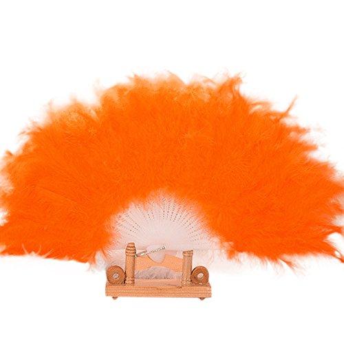 Kostüm Burlesque Style Dance - Andouy Retro Faltfächer/Handfächer/Papierfächer/Federfächer/Sandelholz Fan/Bambusfächer für Hochzeit, Party, Tanzen(26cm.Orange)