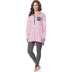 Be Mammy Premamá Pijama Conjunto Camiseta y Leggins Embarazo Lactancia Maternidad Vestidos de Cama Mujer BE20-178(Rosa-Puntitos-Gris, XL)