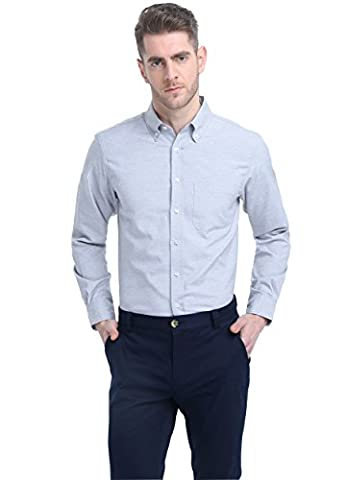 WITCHERY Men's Long Sleeve Casual Oxford Shirt Grey