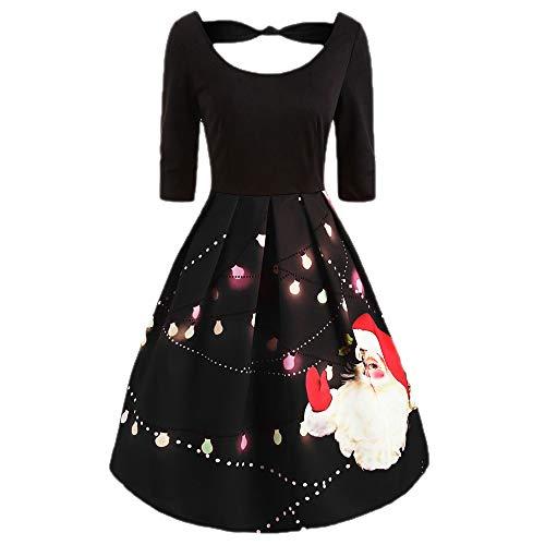 WHSHINE Damen Plus Size Kleid Weihnachtsfeier Kleid Vintage -
