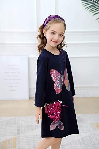 OHBABYKA Little Girls Cute Casual Reversible Sequin Baumwolle Tiere Gedruckt Streifen Langarm Playwear Kleid (7T, Black Butterfly) (Butterfly Kleider Für Kleinkinder)