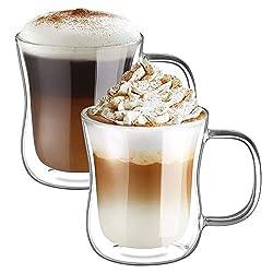 ecooe Doppelwandige Latte Macchiato Glaser Set Trinkgläser Kaffeeglas 2-teiliges 350ml (Volle Kapazität) φ9.3 * 11cm