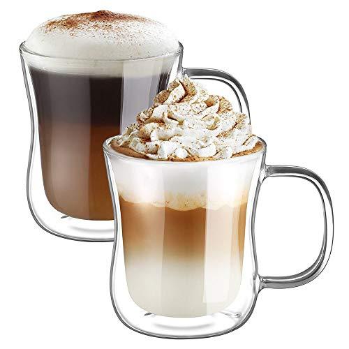 Latte Macchiato Glaser Set Thermoglas Trinkgläser Kaffeeglas 2-teiliges 350ml (Volle Kapazität) ()