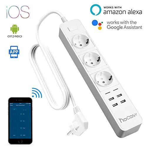 Hocosy Wifi Intelligente Prise, Prise Courant Intelligente, Socket Intelligent WLAN Multiples Prises Avec 3 Sortie - 4 Ports USB Compatible Avec Android IOS Alexa Voice Control Pour Smart Life - Blanc