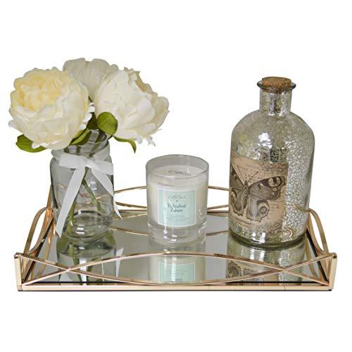Maison Des Cadeaux New Decorativo Oro e Argento Metallo servire vassoi/toletta con Specchio Vetro basi Ar5 Gold