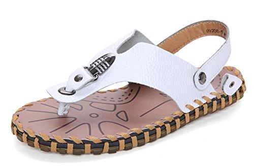 SHIXR Männer öffnen sich zurück Hausschuhe Neue Sommer Herren Leder Sandalen Gezeiten Clip Füße Flip Flops Männlich Cool Sandalen Schuhe White