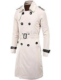 DianShao Manteau Homme Jacket avec Ceinture Trench Coat Veste Blousons  Longue Parka 101377a47bd3