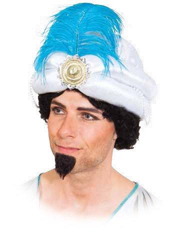 Mütze Sultan weiß Feder Turban zum Orient Kostüm -