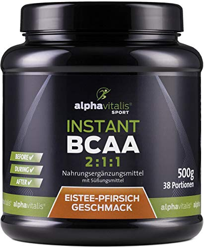 Instant BCAA Pulver - XXL Dose - Aminosäuren mit leckerem Eistee Pfirsich Geschmack - 500g - vegane Aminos - Leucin, Isoleucin, Valin EINWEG