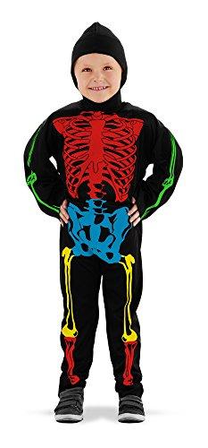 * SKELETT * Kostüm inklusive Kapuze für Jungs mit 3-5 Jahren (Größe: 98/104/110/116) // Fasching Verkleidung Verkleiden Karneval Halloween Horror Kostüm Kostüme Boy