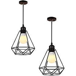 2 Piezas Chaozan® Sencilla Industrial DIY del metal del techo de la lámpara pendiente de la luz de iluminación del bulbo Cafe,E27(negro)