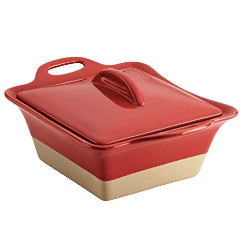 Rachael Ray Collection Stoneware Square Casserole, 2.5-Quart, Cherry