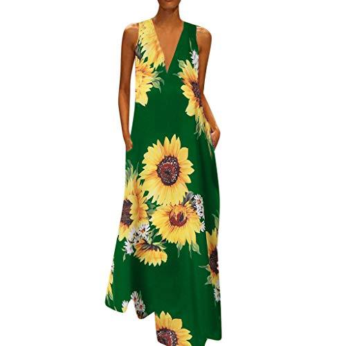 Damen Boho V-Ausschnitt Vintage A-Linie Strandkleid Ärmelloses Jerseykleid mit Sonnenblume Drucken Blumendruck Strandkleider Damenkleider Große Größen ()