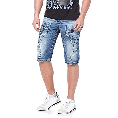 Cipo & Baxx Herren Jeans Shorts CK-101 Regular destroyed W32 (Low-rise Denim-jean-shorts)