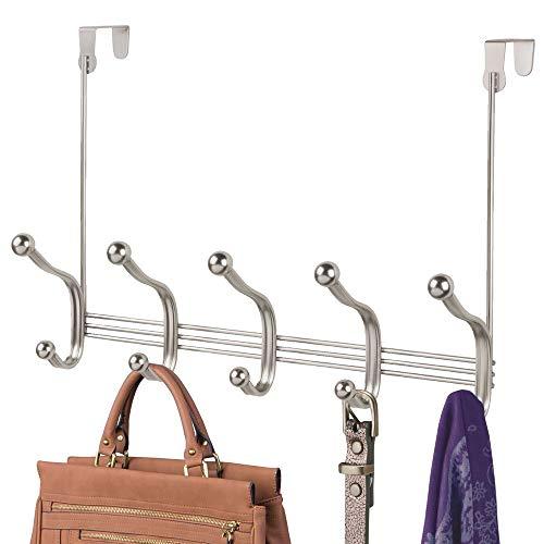 mDesign Hakenleiste aus Metall - zehn Garderobenhaken für die Tür in Flur und Bad - Türgarderobe für Mäntel, Jacken, Bademäntel, Handtücher - mattsilberfarben