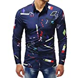 UJUNAOR Herrenmode Printed Bluse Casual Langarm Slim Shirts Tops M bis 5XL(4XL,Multicolor 1)