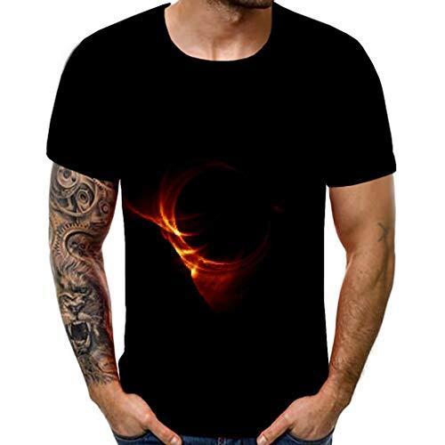 3D Schwarzes Loch Herren Hemd T-Shirt Basic Rundhals Mit Shirt Kurzarm Casual Top Slim Fit MäNner Rundhalsausschnitt Kurzarmshirt Print O-Neck Sommer O-Ausschnitt Moderner Poloshirt(Schwarz,XXL)