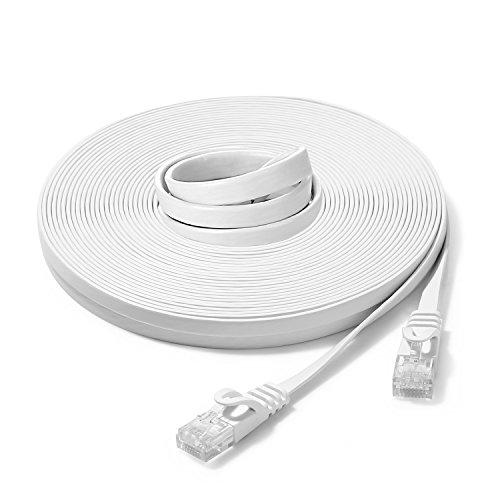 ubest 30m Cat.6 Netzwerkkabel Weiss Cat6 Flachbandkabel 30 Meter Patchkabel verlegekabel Ethernet LAN RJ45 Knickschutz 10/100/1000 Mbit/s