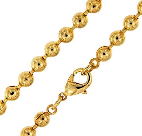 Kugelkette Gold Doublé 5 mm breit Länge 90 cm Halskette Goldkette Herren-Kette Anhängerkette Damen Geschenk Schmuck ab Fabrik Italien tendenze PGY4,7-90