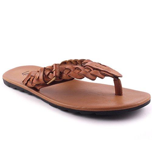 Unze Herren Leder 'Sankt' Geflochtener Slip On Open Toe Thong Beach Festival Sommer Hausschuhe UK Größe 7-11 - YL8823 Braun