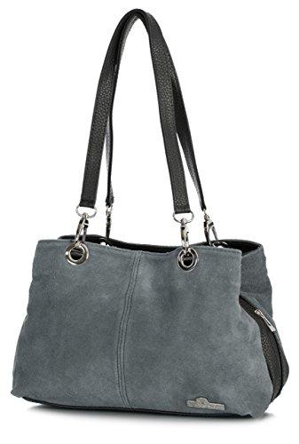 Multi-handle Satchel (Big Handbag Shop Damen kleine Twin Top Multi-Reißverschlusstasche, Wildleder, Schultertasche aus Leder, Grau - Dark Grey - Black Trim - Größe: Einheitsgröße)