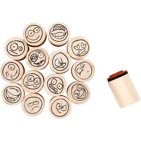 Stempel-Set Smiley, 15 Stück sortiert Ø 2 cm, Holzstempel Motiv-Stempel