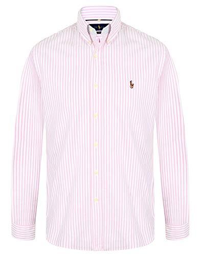 Ralph Lauren Herren Slim Fit Hemd (Pink/Weiß, M)