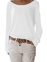 Mujeres Suelto Jersey Suéter Pullover Camiseta Manga Larga Sudadera Cardigan Casual Jerséis T-Shirt Tee Blanco S