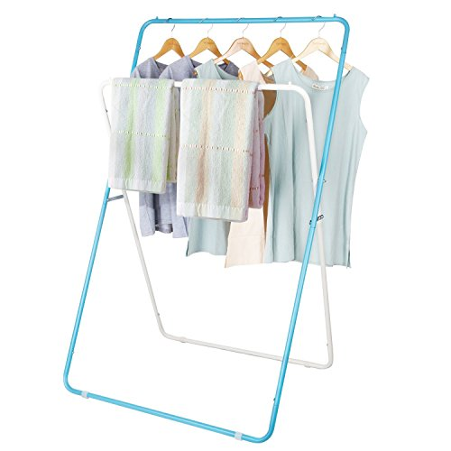 Lifewit Klappbarer Wäscheständer, Klein Standtrockner Wäschetrockner Kleiderständer für Balkon/ Waschküche/ Badewanne,  mit 2 Stangen, Platzsparend, Blau&Weiss