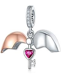 NINGAN Abalorio de Plata de Ley 925, Compatible con Pulseras y Collares de Pandora, Biagi, Chamilia y Europeas