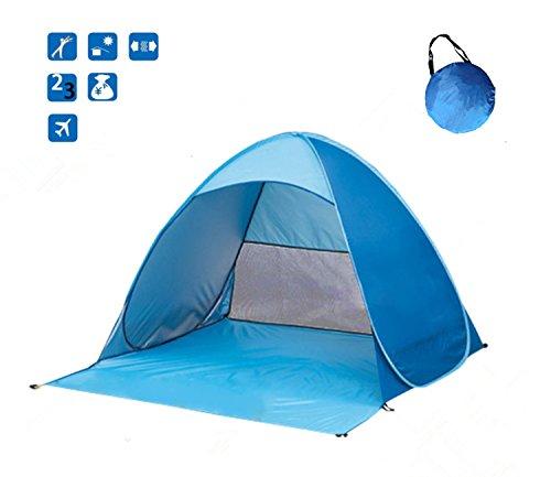 RiseSun Strandzelt, Wxtra Leicht Automatik Strandmuschel mit Boden UV-Schutz, Optimaler Sonnenschutz Robust, Stabil, Leicht und Wetterfest mit Kleinem Packmaß(blau)