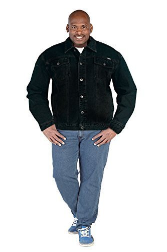 Groß King-size Neu Duke Herren Jeans Jacke Trucker West Darkwash Denim Mantel Schwarz