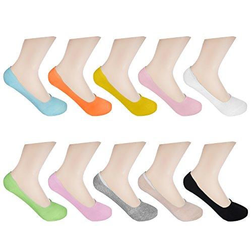 Damen-baumwoll-mischung (HBF 10 Paar Füßlinge für Damen unsichtbare kurze Socken Sneaker Söckchen mit Rutschfestem Silkon derselben Farbe oder Mischung (Farbmischung))