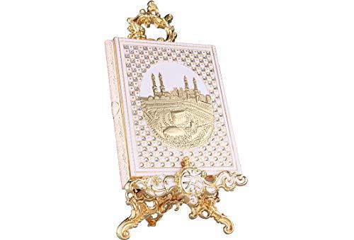 Dekonaz | Koran-Box | Inklusiv Aufsteller | Aus Metall | Gold | 22,5cm x 29cm x 5,5cm | Koran Nicht im Lieferumfang enthalten