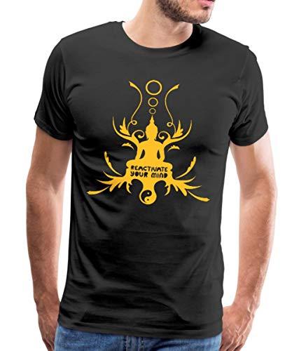 Spreadshirt Buddha Buddhismus Meditation Hinduismus Thailand Männer Premium T-Shirt, L, Schwarz