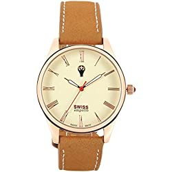 Swiss Emporio Men's Quartz Swiss Made Watch with Beige Dial Analogue Display and Brown Leather Strap SE02CRRG10