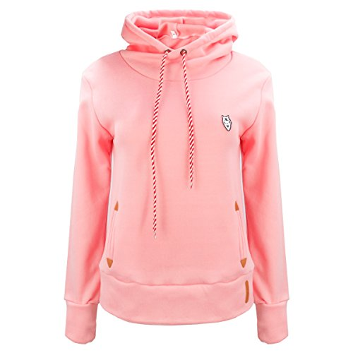 FEESHOW Femme T-shirts Sweat-shirt Pullover Tops avec Capuche à Manches Longues Rose