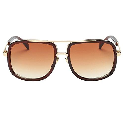 Sharplace Männer Frauen Sonnenbrille Retro Vintage Sonnenbrille Große Rahmen Mode Glasse - Braun