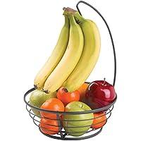 mDesign Frutera de metal con gancho para colgar racimos de plátanos – Cesta de frutas con soporte para plátanos para encimera – Prácticos fruteros de cocina para frutas y verduras – negro mate