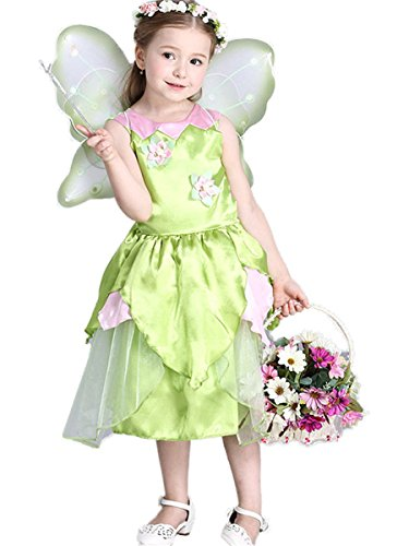 rinzessin Kostüm Cosplay Halloween Grün Blume Fee Kleid Karneval Faschingskostüm Festkleid 7-8Jahre ()