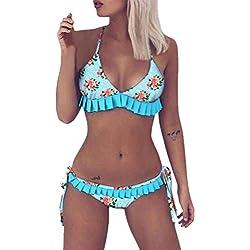 Longra❤Bikini con volantes florales coloridos, verano traje de baño acolchado push-up popular bañador ropa de playa vestidos mujer