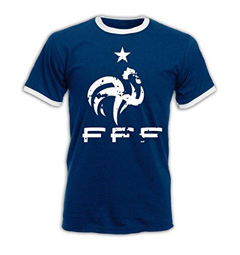 EM 2016 - Frankreich - Wappen - Vintage - Ringer Herren T-Shirt - Navy/Weiss Gr. M -