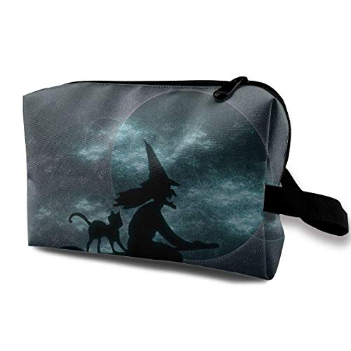 with Wristlet Cosmetic Bags Halloween Witch Pattern Travel Portable Makeup Bag Zipper Wallet Hangbag