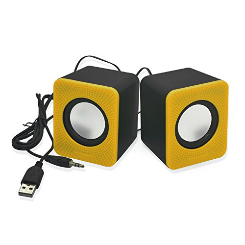 Incutex, Multimedia Speakers, sound boxen, mini portable Boxen, portable Lautsprecher, speakers, Lautsprecher ideal für iPod, MP3 Player, CD Player, PC & Notebook, Mini Soundstation, audio boxen, portable speaker, tragbare boxen, Farbe: Gelb – yellow