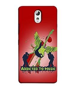 PrintVisa Designer Back Case Cover for Lenovo Vibe P1M :: Vibe P1m (Addicted To Music Design In Red)