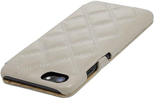 StilGut Book Type Case con clip, custodia in pelle cover per iPhone 7 (4,7) Chiusura a libro Flip-Case in vera pelle, Blu Scuro Nappa Crema - Nappa Carato