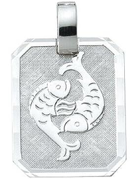 Silber 925 Sterling Silver Sternzeichen Anhänger - Fisch - B. 15,6 mm - H. 19,3 mm