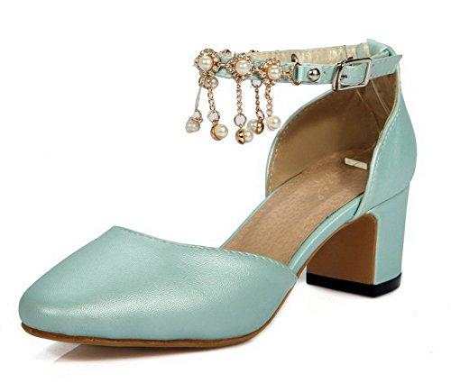 cb48cf0b2dfc3d AllhqFashion Damen Mittler Absatz Eingelegt Schnalle Quadratisch Zehe Pumps  Schuhe Blau