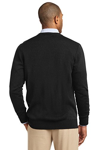Port Authority Herren Pullover V-Ausschnitt Strickjacke mit Taschen Schwarz - Schwarz