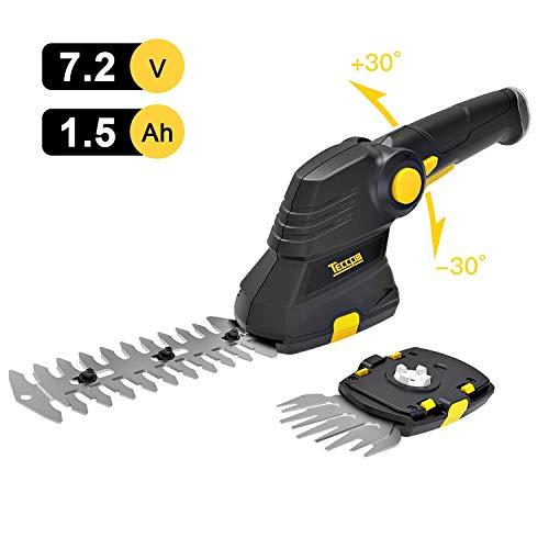 TECCPO Akku Grasschere, 7.2V 1.5Ah Akku Strauchschere, Effiziente USB-Ladegerät, Drehgriff, Schnittbreite 90mm, 2 in 1 Gras- und Strauchschere Design, Schneller Werkzeugloser Klingenersatz - TDGS03G